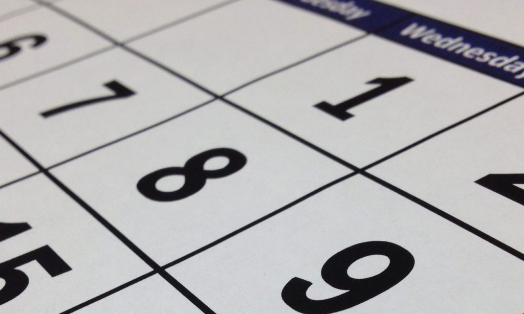 Calendar sheduling year-end requirements